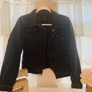 Black Distressed Denim Jacket Forever 21